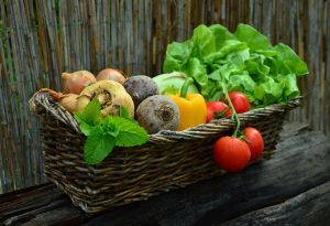 Whole vegetables in a basket