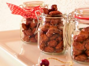 Candied almonds in jars