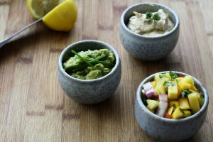 Dips with mango salad
