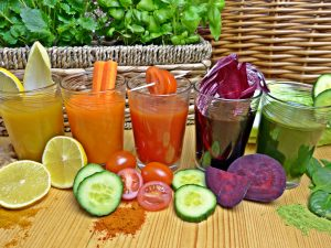 Healthy freshly pressed juices