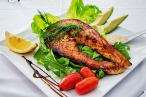 Grilled salmon in a plate